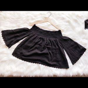 Zara Black Off-Shoulder Black Top